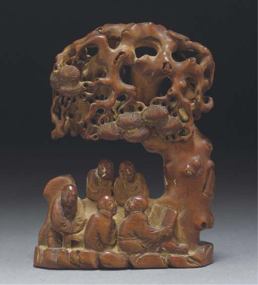A Chinese boxwood carving of f