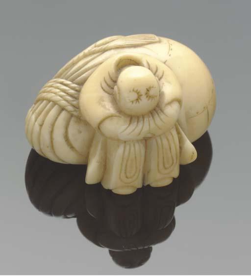 A Japanese ivory netsuke of farmer, 19th Century