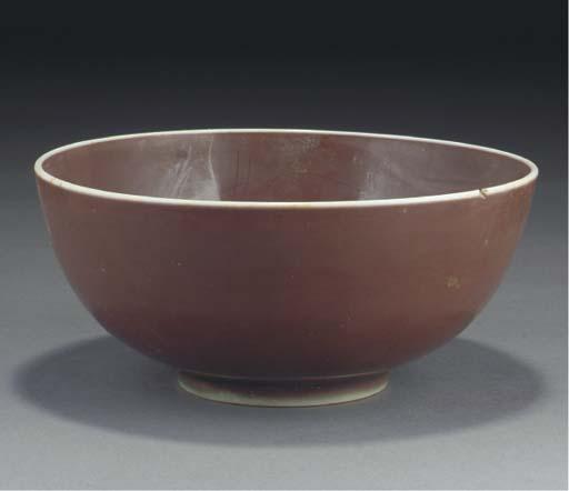 A Chinese sang-de-boeuf glazed deep bowl, Ming dynasty