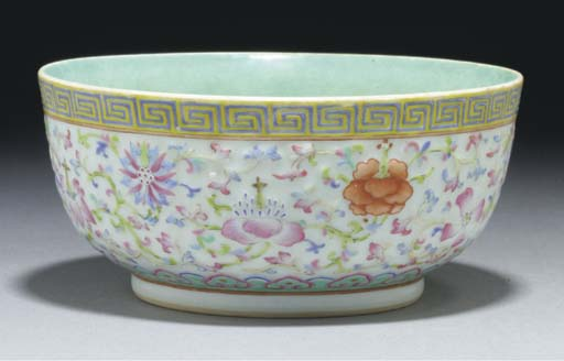 A Chinese famille rose moulded