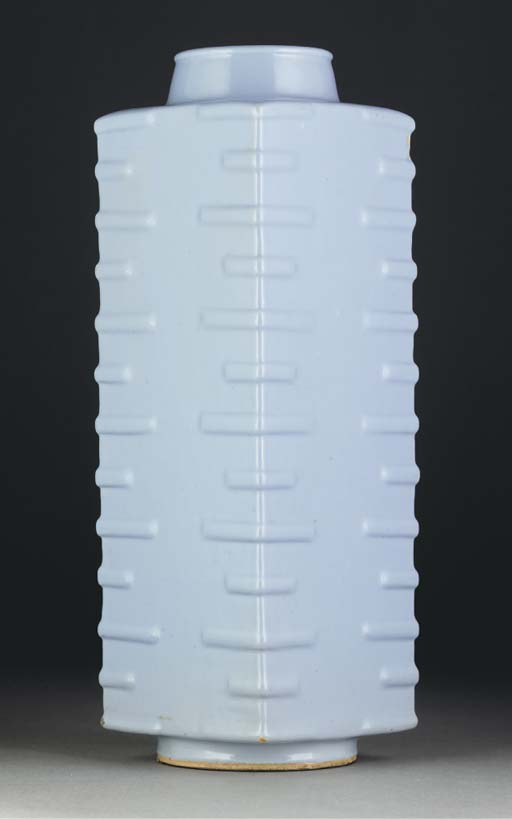 A Chinese clair-de-lune glazed cong vase, 19th century