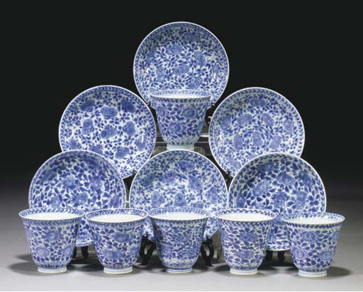 Six Chinese blue and white fla