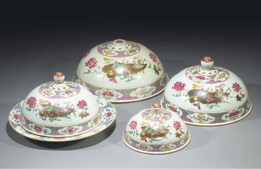 Four Chinese famille rose dome