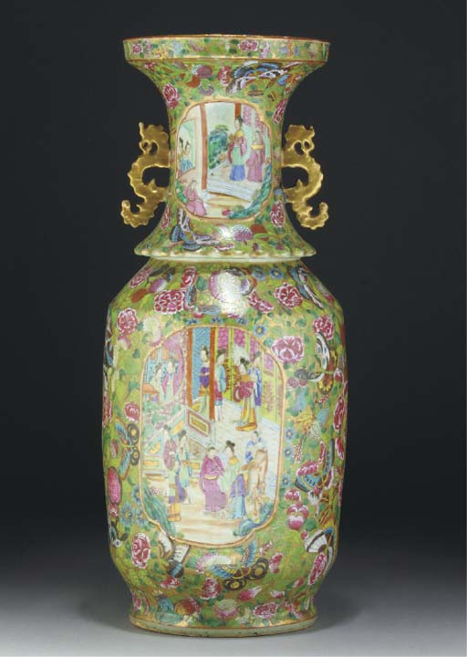 A large Cantonese famille rose baluster vase, 19th century