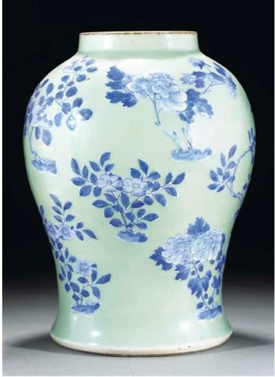 A blue and white celadon groun