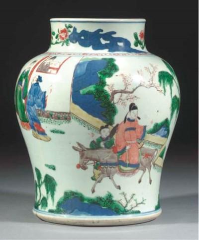 A Chinese wucai baluster vase,
