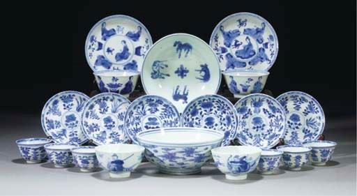 Six Chinese blue and white tea
