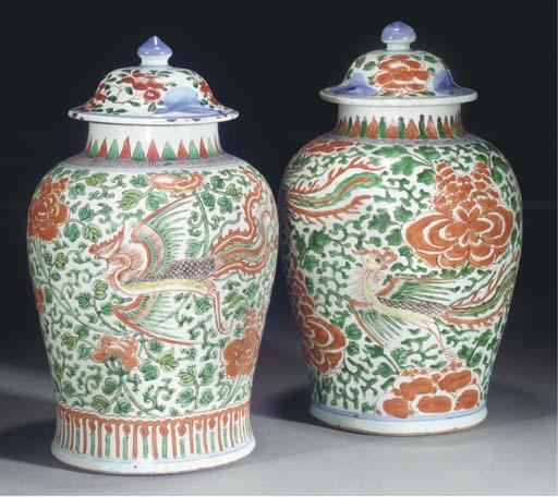Two Chinese Wucai baluster jar