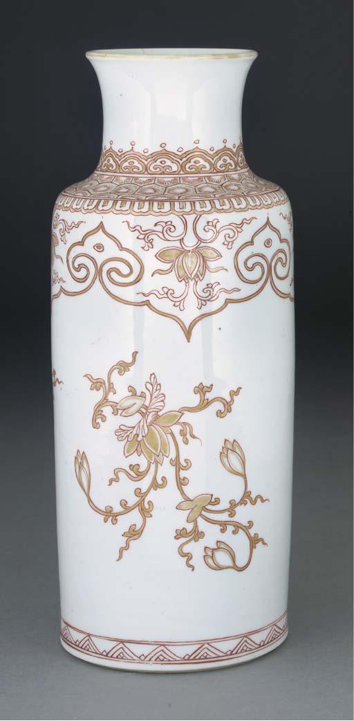 A Chinese rouleau vase, Kangxi