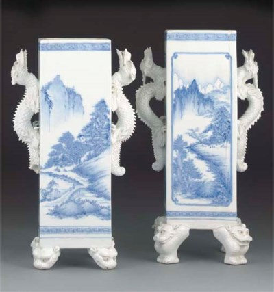 Two Japanese blue and white Hi