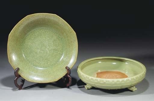 A Chinese celadon glazed tripo