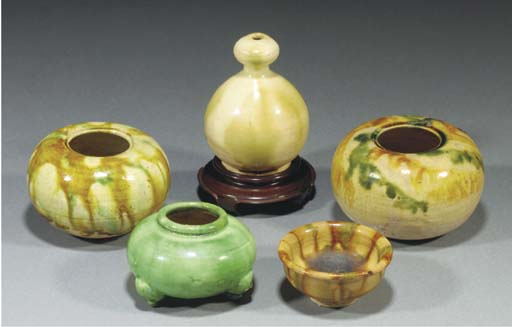 Five Chinese sancai glazed pot
