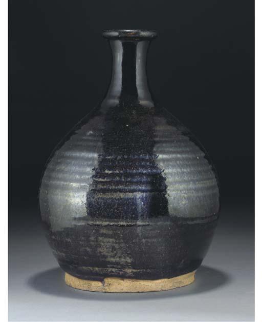 A Chinese black glazed bottle