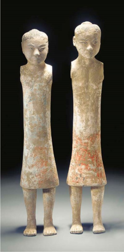 A pair of Chinese pottery stic