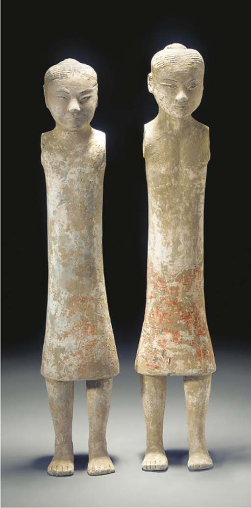 A pair of Chinese pottery stick figures, Han dynasty