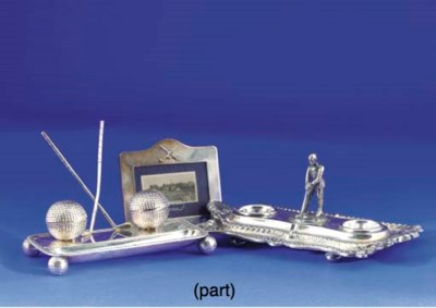 A SILVER INKSTAND