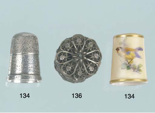 A silver thimble
