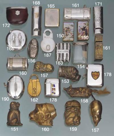 Two brass enamel vesta cases