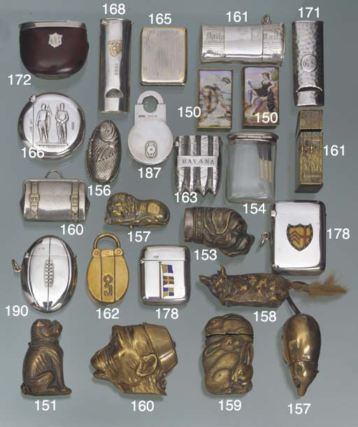 A group of plated and brass vesta cases