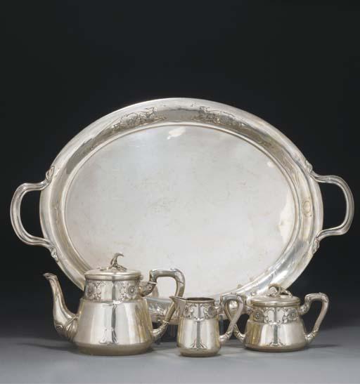 A Four-Piece German Silver Tea