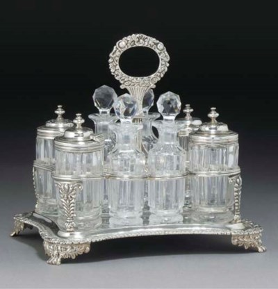 A GEORGE IV SILVER EIGHT-BOTTL