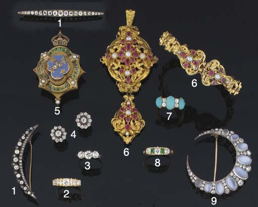 Two diamond brooches and a gem