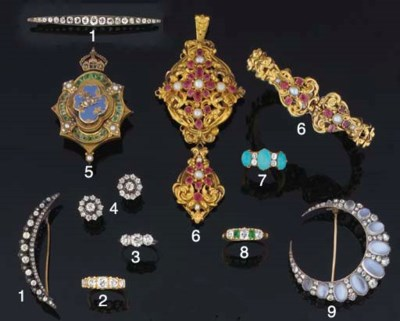 A mid Victorian gold, ruby and
