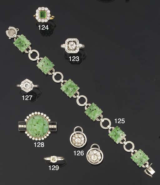 An Art Deco jade, diamond, onyx and cultured pearl brooch