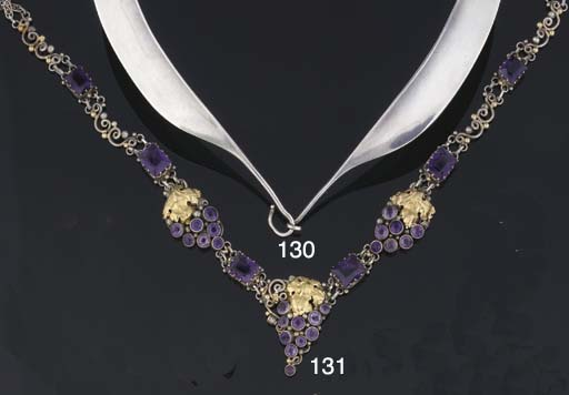 An Arts and Crafts, amethyst composite necklace