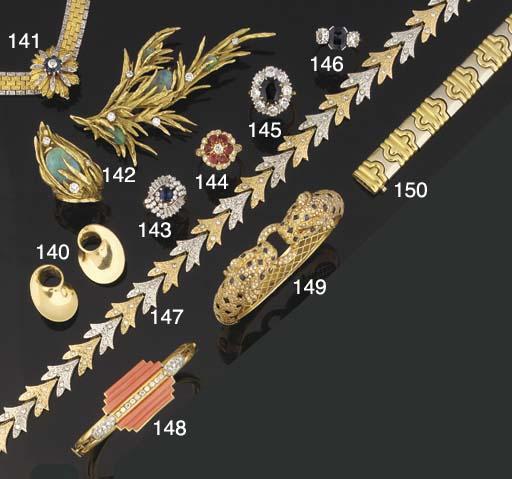 A diamond and coral bangle