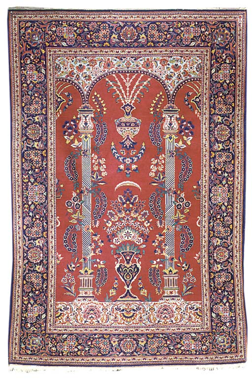 A fine Kashan prayer rug