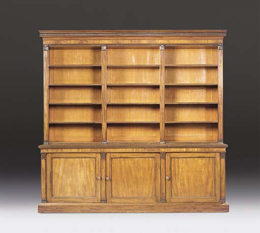 A GEORGE IV MAHOGANY OPEN BOOKCASE