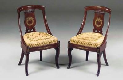 A pair of Charles X mahogany a
