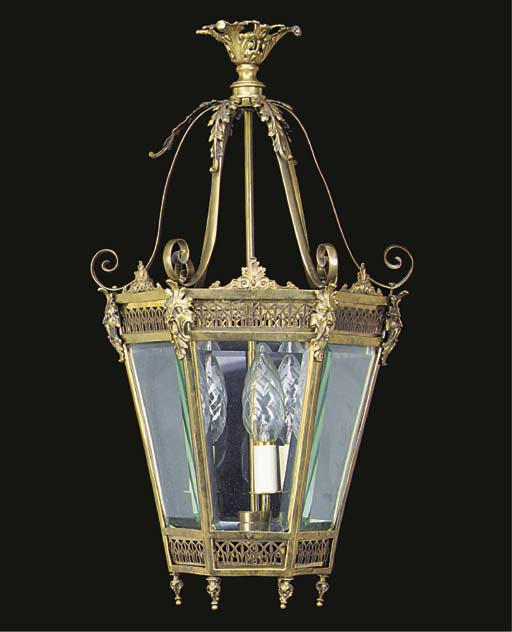 A brass hexagonal hall lantern