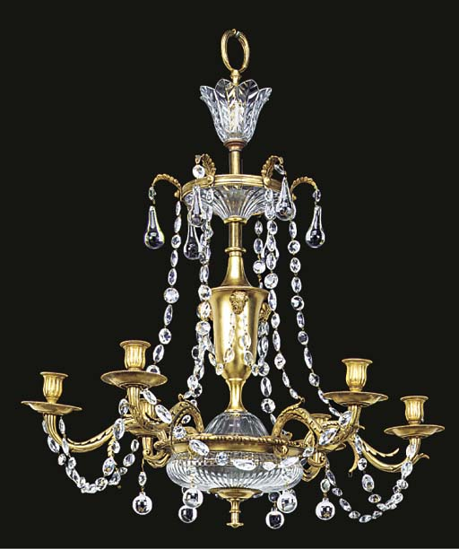 A gilt metal and cut glass six