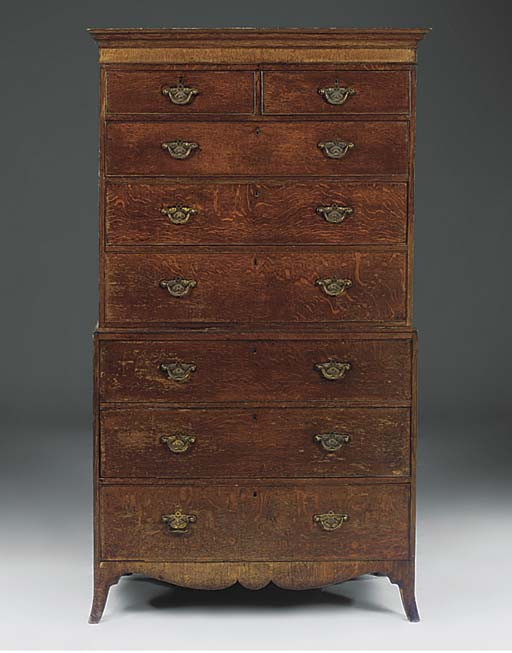 AN OAK CHEST ON CHEST