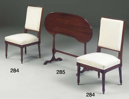 A PAIR OF FRENCH WALNUT SIDE CHAIRS