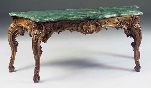 A French marble topped walnut