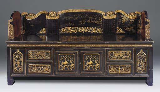 A CHINESE GILT AND BLACK LACQU