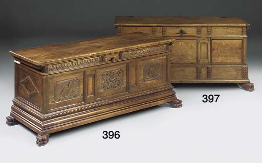 AN ITALIAN WALNUT CHEST