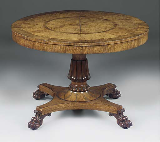 A WILLIAM IV ROSEWOOD AND BURR OAK BREAKFAST TABLE