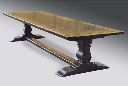 A LARGE OAK REFECTORY TABLE