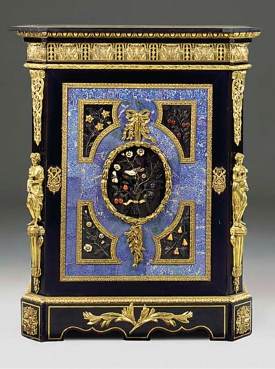 A FRENCH ORMOLU EBONISED LAPIS