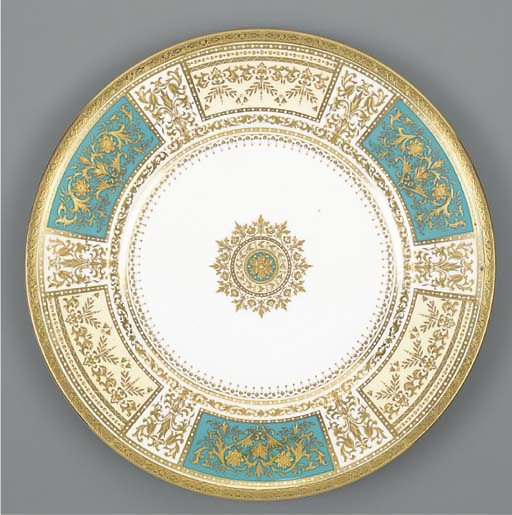 A Minton turquoise and ivory-g