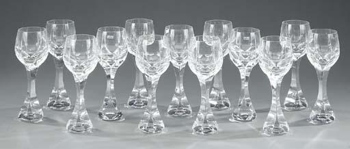 Fourteen Baccarat cut wine glasses