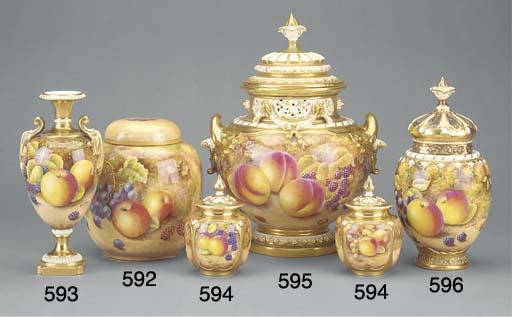 A Royal Worcester oviform pot-pourri vase and pierced domed cover