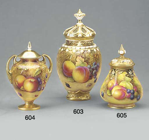 A Royal Worcester oviform pot-