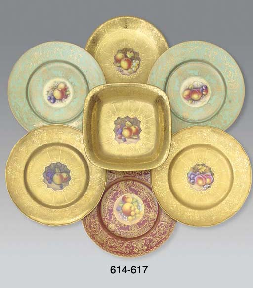 A pair of Royal Worcester gold-ground plates