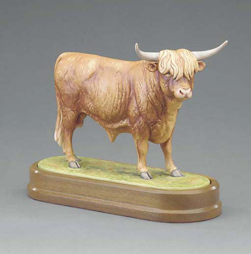 A Royal Worcester limited edition model of a Highland Bull