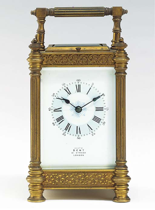 A French brass striking and repeating carriage clock, circa 1890